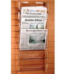 Acrylic Slatwall Newspaper Holders Ladder design for more storage space Clear acrylic offers complete view of contents